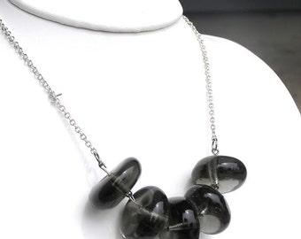 Chunky Gray Necklace - Gray Bib Necklace - Smoky Quartz Necklace - Short Gray Necklace - Gray Statement Necklace -Gray Glass Bead Necklace