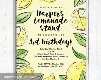 Lemonade Stand Birthday Invitation, Pink Lemonade Birthday invitation, Lemon Birthday Invitation, Color Options, Digital Printable File #190