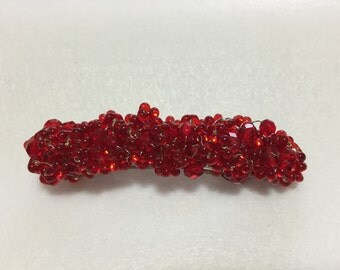 Hand Made Crochet Crystal Barrette