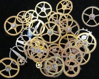 Steampunk Watch gears Supplies Pocket Watch Parts 1/2 Oz  Assorted wheels Gears Antique vintage G 41