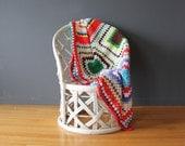 Colorful Handmade Afghan Blanket - 4 feet x 6.5 feet