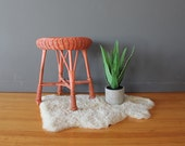 Franco Albini Style Coral Rattan Stool or Side Table