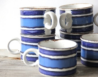 Blue Striped Japanese Stoneware Mugs (Set of 9)