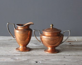 Universal Copper Sugar And Creamer Set