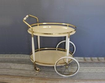Tiered Brass & Ceramic Rolling Bar Cart