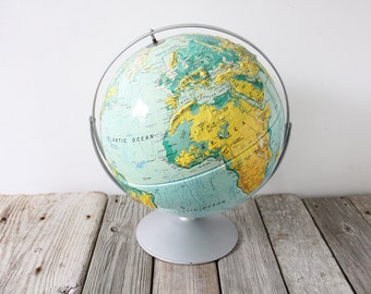 Extra Large Typographic Relief Dual Axis Globe