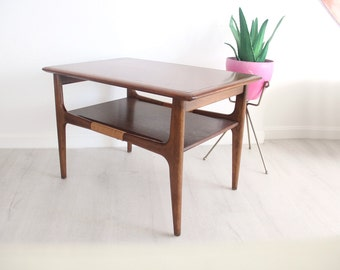 Mid Century Danish Modern Lane Side Table Star Burst Inlay Cane Wrap