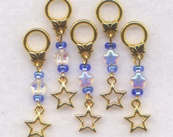 Gold Stars Stitch Markers No-snag AB Crystal Stars Twinkle Set of 5/SM63B