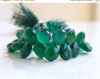 Clearance SALE Green Onyx Gemstone Briolette Faceted Pear Teardrop Emerald Green 6 to 7mm 30 beads
