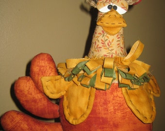 Primitive HC Rosita the Chicken Hen Rooster Doll Shelf Sitter