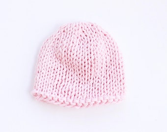 Pink cotton baby hat, pink baby shower, knit baby hat, newborn hat, baby girl hat, baby hat, newborn hospital hat, pink, hospital hat