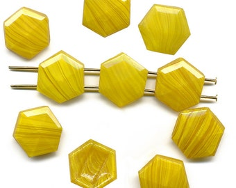 Vintage Nailhead Beads 14mm Butterscotch Glass, Six Sided, Two Holes 10 Pcs.