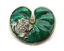 Frog Brooch - Vintage, Enamel Brooch, Rhinestones, Lilypad, Costume Jewelry