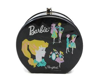 Barbie Case - Vintage 1960s, Ponytail, Black, Round, Wrist Strap, Hat Box