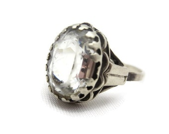 Sterling Statement Ring - Clear Glass, Silver, Adjustable