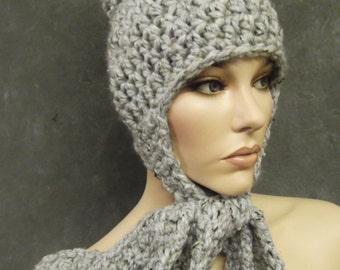 The Patapouf Hat in Slate, Winter Hat, Pom Pom Hat, Accessories, Hats, Skull Cap,Women, Crochet Hat,Uniquely Ewe, Grey Hat,Earflap Hat,Tweed