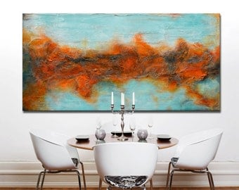 Red blue Painting, Red Abstract Painting, modern wall art, Red Colorful Painting, abstract landscape, textural art, unique artwork, textured