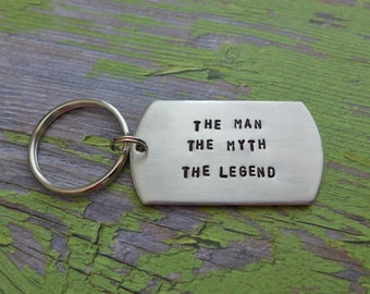 the man the myth the legend dog tag key chain - Father's Day gift