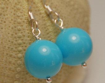 Turquoise Earrings, Turquoise Pearl Earring, Single Pearl Drop, Swarovski Pearl in Sterling Silver, Bridesmaid Jewelry, Wedding Jewelry
