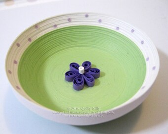 Paper Quilled Ring Dish, Dotted with Purple Flower, READY TO SHIP