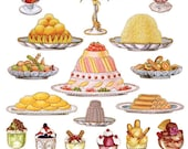 Self Adhesive Fancy Desserts Stickers 1 Sheet Colorful Scrapbooking Stickers  Number P53