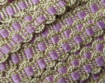4 Yards Vintage Delicate Narrow Metallic Trim In Gold White And Lavender Old Store Stock  MT 44