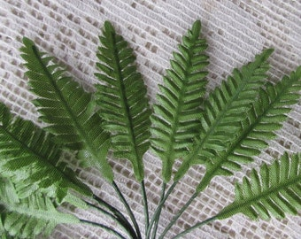 10 Millinery Leaves Tiny Fern Fronds Leaves Fabric From Austria