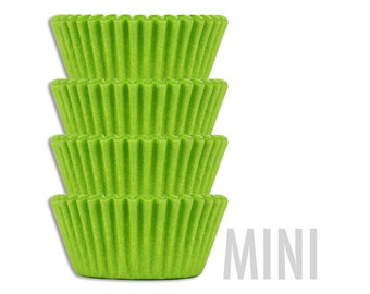 Mini Solid Lime Green Baking Cups - 45 bright solid lime green mini paper cupcake liners