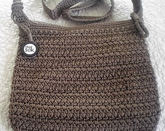 Taupe Brown Sak Crocheted Purse with matching free scarf.