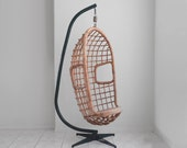 1970s VINTAGE hanging rattan basket chair