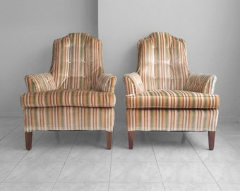 2 mid century modern tall back striped & tufted back club chairs