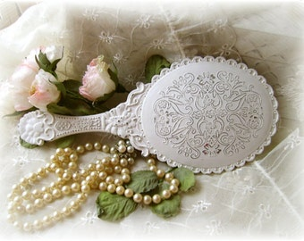 Hand Mirror ~ Romantic Chic ~ Vintage Chic Shabby  Chic Ornate White distressed Hand Mirror Shabby Chic Home Decor