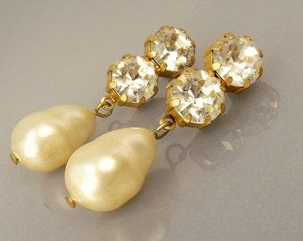 Vintage Les Bernard Pierced Earrings Rhinestone & Pearl Drop Statement Earrings