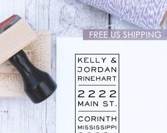 Custom Address Stamp - Vertical, Wood Stamp, Self Inking Stamp, Wedding Present, Modern Stamp, Housewarming Gift, Rubber Stamp