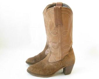 Vintage 70's DEXTER  Boho Cowboy Boots. Size 6 Women's
