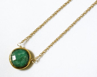 Green Emerald Necklace 18k Gold Bezel Genuine Emerald Necklace Real Emerald Necklace May Birthstone Precious Emerald Jewelry BZ-P-105-Em/g