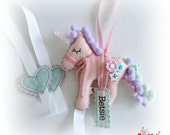 Unicorn Hair Clip Bow Slide Holder Tidy - personalised with a name tag - ANY COLOURS