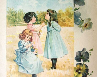 Original Antique Victorian Print,  Illustration, 1890's, Children in the Field with Buttercups, Do You Love Butter? Nursery Decor