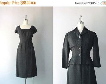 STOREWIDE SALE 1950s Suit / Vintage 50s Hourglass Dress and Jacket Set / Black Silk Talmack Suit
