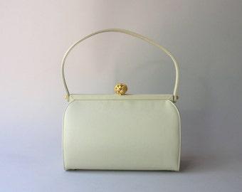 Vintage Purse / 1960s Ecru Handbag / Vintage 50s Coblentz Frame Bag