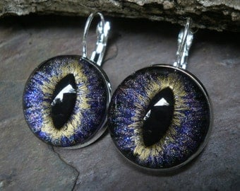 Gothic Steampunk Purple Eye Lever Back Earrings in Silver Plate