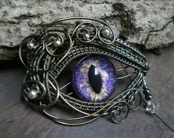 Gothic Steampunk Purple Eye with a Teardrop