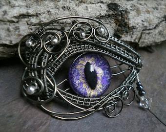 Gothic Steampunk Purple Eye with a Teardrop