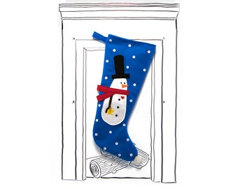 "Christmas Stocking Blue Snowman with  Top Hat and Polka Dots, 23"" x 11"", Fully Lined, Handmade, Super Fun Twist on the Traditional"