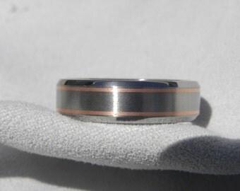 Wedding Band, Titanium with Copper Inlay Ring, Beveled Edge