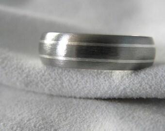 Ring, Wedding Band, Titanium with Silver Pinstripes, Stone Finish