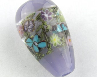 Purple Garden With Butterflies and Flower Murrine Lampwork Glass Bead by Chase Designs