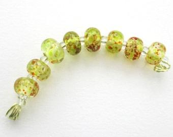Handmade yellow glass beads - lampwork glass round beads - yellow red flamework beads - artisan glass craft supplies - jewelry components