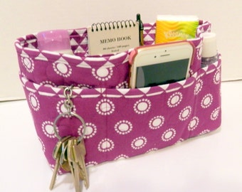 "Purse Organizer Insert/Enclosed Bottom  4"" Depth/ Purple and White"