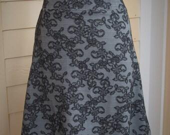 Jersey Knit Skirt - Black Lace Print - Size Medium
